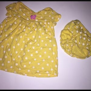 18 Month Yellow Polka Dot Dress with Diaper Cover